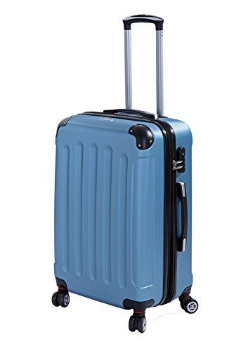P-Collection Koffer Trolley Handgepäck Reisekoffer Hartschalenkoffer Zwillingsrollen M-L-XL-Set Dehnungsfuge 5 Farben (Blau Größe L)