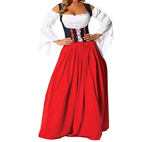 Hallowmax Deguisement Adulte Femme Costume Cosplay Pirate Jupe Rouge, la fête de la bière (Femme Pirate Kostüm)
