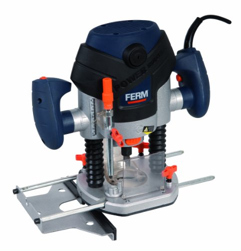 FERM PRM1015 - Precisison Router - Plunge Router - 1300W - 6-8mm - LED-Worklight - Dust Extraction - With Parallel Guide, Template Guide and 6 Router Bits