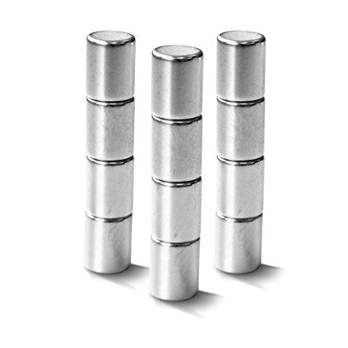 Neodym Magnete extra stark für alle magnetischen Flächen | auch für Glasmagnettafeln | verschiedene Formen | 12 Stück im Set | Zylinder (8x10 mm) - Quadratische Magnete