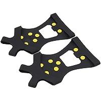 Lordpoll-ES Compact 10 Studs Zapatillas Antideslizantes para Nieve Cubiertas para Pinchos duraderos Tacos Crampones Equipo de Deportes para Exteriores Universal MUA