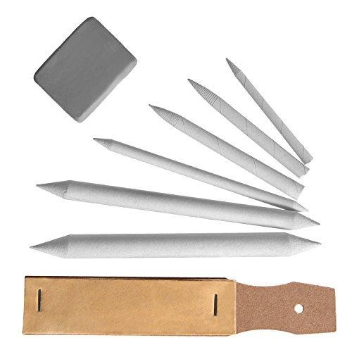 ien Blending Stumps & Tortillions Papierwischer Bleistift Schleifpapier Laserpointer mit gekneteten Radiergummi, 8Stück ()