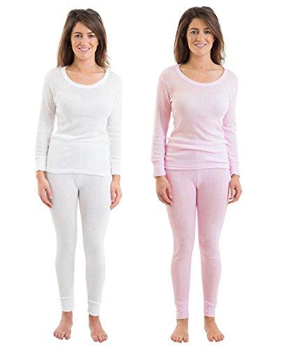 Set von 2 Farben Womens/Damen Thermowäsche Rib Jacquard Langarm Weste & Hose, White & Pink, verschiedene Größen (Jacquard Rib Damen)