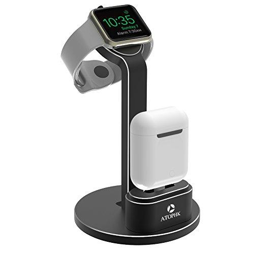 ATOPHK 2 en 1 Aluminium Supporter Charge Dock Station Compatible pour Apple Airpods Sans fil Bluetooth casque de musique iWatch 4 3 2 1 38mm / 42mm La table de nuit Mode (102-Noir)