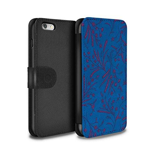 STUFF4 PU-Leder Hülle/Case/Tasche/Cover für Apple iPhone 6S / Pack (8 pcs) Muster / Weizen Blümchenmuster Kollektion Blau/Rosa