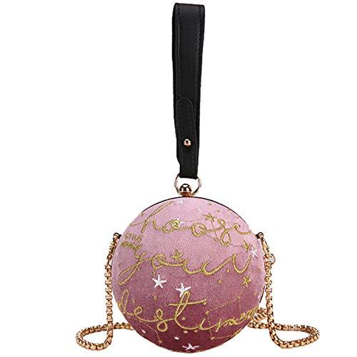 Strass-pocket-jeans (LJSHU Umhängetasche Gold Kette Gesteppte SAMT Runde Damen Wild Multi-Pocket Design Messenger Bag Handtasche,Purple)