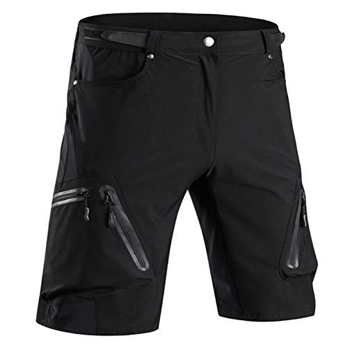Cycorld MTB Hose Herren Radhose Wasserabweisend Mountainbike Kurz Outdoor Sport Fahrradhose Herren Shorts Herren Bike MTB Shorts, Schwarz Ohne Pad, L/cm(Waist:76-80, Hip:94-99)