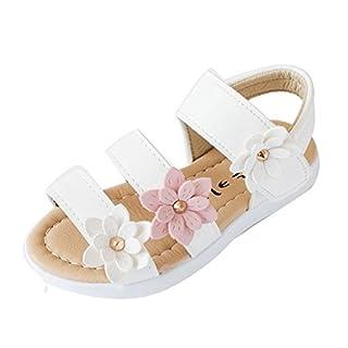 IGEMY Summer Kids Children Sandals Fashion Big Flower Girls Flat Pricness Shoes (UK:10/Age:6T, White)