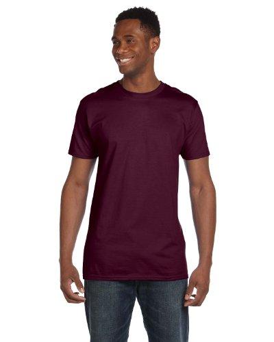 Hanes 4980 Mens Nano T-Shirt 1 Maroon + 1 Vintage Orange