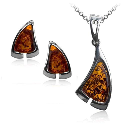 In ambra e argento Sterling brunito, forma triangolare, orecchini a lobo a forma di catena rolò 46 cm con pendente