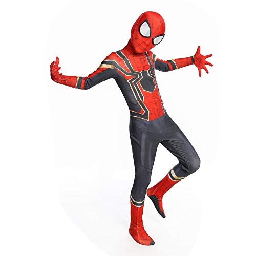 QXMEI Iron Spiderman Kostüm Avengers Kinder Cosplay Halloween Anime Charakter Performance Kostüm,Red-S