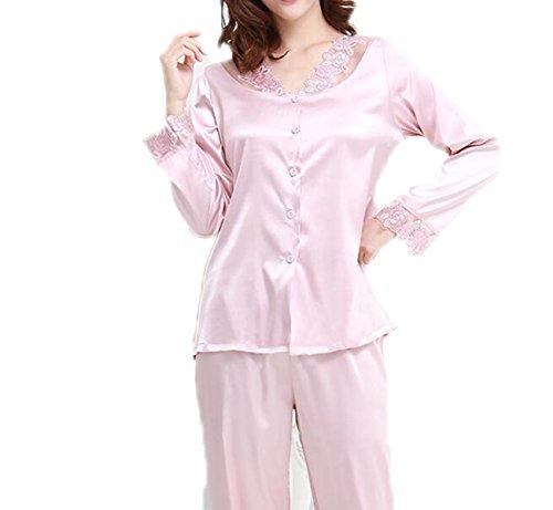 QPALZM Il Bordo Allentato Del Merletto Mette Womens Satin Pigiama Lungamente Button-Down Set Sleepwear Loungewear M-XL Purple