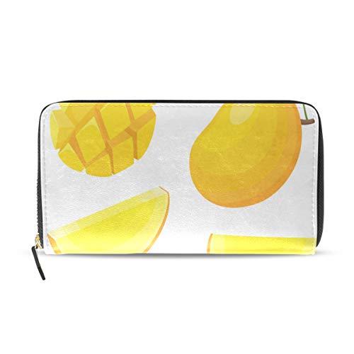 Wietops Reife gelbe Mangofrucht lange Passport Kupplung Geldbörsen Reißverschluss Geldbörse Tasche Handtasche Geld Organizer Tasche Kreditkarteninhaber Für Dame Frauen Mädchen Männer Reise Geschenk -