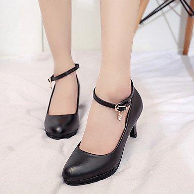 Lvyuan-ggx Womens Confortable Talons Chaussures Formelles Pu (polyuréthane) Automne Pied Occasionnel Confortable Chaussures Formelles Boucle Carré Noir 7,5 - 9,5 Cm Noir