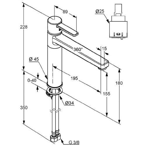 Kludi – Zenta Spültischarmatur, hoher und schwenkbarer Auslauf 360°, Chrom - 2