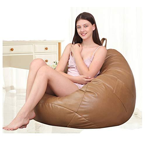 QMKJ High Back Beanbag PU Leder Taschen-Beanbag Stuhl frei von Reinigung Soft Large Sofa Indoor Outdoor Cozy Lounger für Kinder Erwachsene Teens,Yellow - Leder Back Spiel-stuhl