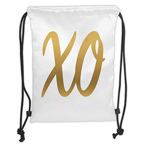 Trsdshorts Xo,Hugs and Kisses Valentine Days Inspired Background Vintage Style Celebration Image Decorative,Gold and White Soft Satin,5 Liter Capacity,Adjustable STR