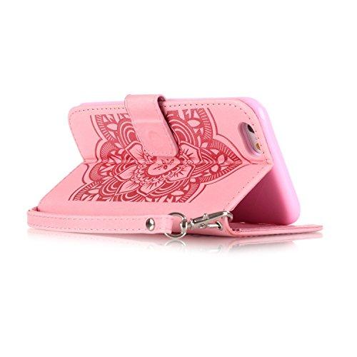 Etsue Portafoglio caso con la cinghia bling per iPhone 6 Plus/iPhone 6S Plus 5.5, lusso retrò cuoio dellunità di elaborazione copertura elegante motivo campanula lucido scintillio di strass diamante Campanula,Rosa