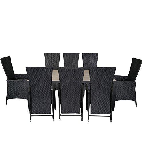 9tlg. Gartengarnitur Gartentisch 205x90cm Polywood Tischplatte Aluminium Poly Rattansessel Rückenlehne verstellbar inklusive Sitzpolster Sitzgruppe Terrassenmöbel Sitzgarnitur