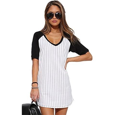 Sexy Boyfriend Stile Nero Bianco A Righe Scollo a V Baseball T-Shirt Camicia Chemisier Mini Corti Corto Vestito Abito