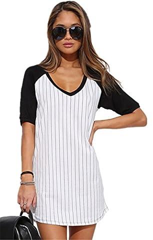 Sexy Boyfriend Style Noir Blanc Rayé V Neck Baseball T-Shirt Mini Court Courte Robe S