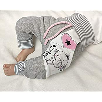 Handmade Baby Pumphose Hose mit Tasche Gr. 50-104 Elefant Girl Grau Puschel-Design