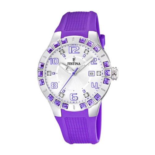 Festina Dream Time - Reloj analógico de mujer de cuarzo con correa de plástico lila
