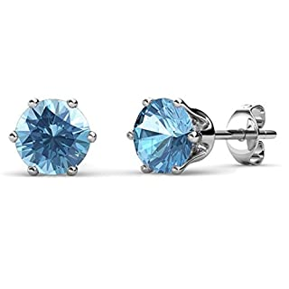 Private Twinkle 18ct White Gold Plated Birthstone stud earrings embellished with crystal for Women (5mm, 6 Claw) (03. Aquamarine)