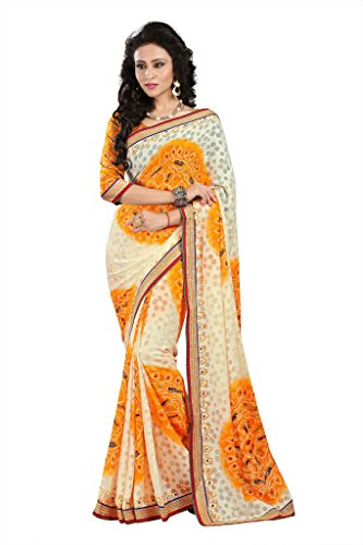 GL Sarees Casual Printed Cream Brasso Saree For Women