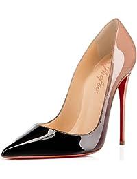 SHOFOO - Femmes - Dégradé Rose et Noir ou Rouge et Noir - Cuir brillant synthétique - Talon aiguille - Bout pointu fermé