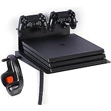 Borangame Soporte de Pared para PlayStation 4 Normal / PS4 Pro / PS4 Slim Y Xbox 360 / One / One S / One X - Base Horizontal, Metálico con Ventilador Silencioso y Soporte para Mandos y Auriculares