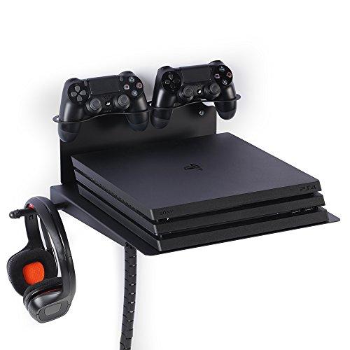 Borangame Wandhalterung, Spielkonsolentisch für PS4 (1/Slim/Pro), Xbox (One/S One/360), horizontale Befestigung, leiser Ventilator, inkl. Controllerhalterung und Headset-Halterung -