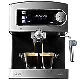 Cecotec Machine à café Expresso Power Espresso 20. 20 bars de Pression , Réservoir d'1.5 L, Bras Double Sortie, Buse vapeur, Plateau Réchauffe-tasses, Finitions en Acier Inoxydable, 850 W.