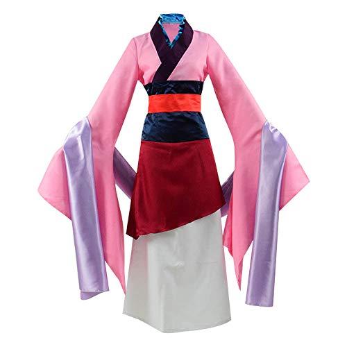Kinder Kostüm Mulan - Zhangjianwangluokeji Mulan Hua Cosplay Kostüm Rosa Kleid für Damen oder Mädchen (XS, Farbe 1)