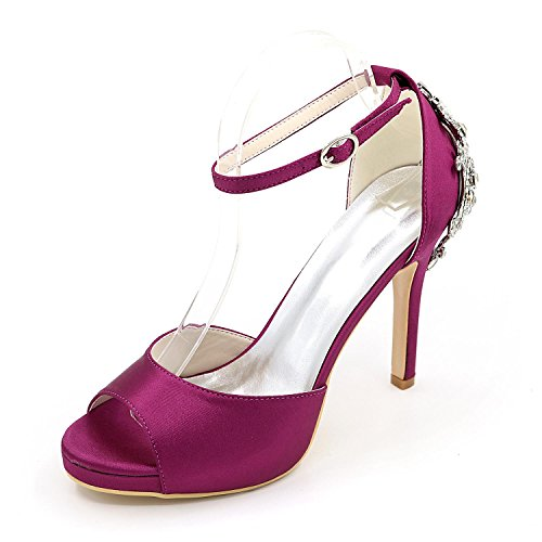 CHENXIA Zapatos De Boda De Las Mujeres Confort De Tacones altos BáSico De SatéN De La Bomba Vestido De Novia Partido Y Noche Rhinestone Perla ImitacióN , purple , 41