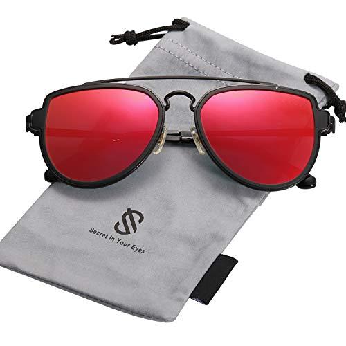 SOJOS Retro Doppelte Metallbrücken Polarized Linse Sonnenbrille für Herren Damen SJ1051 mit Schwarz Rahmen/Rot Polarized Linse