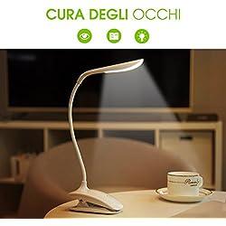 Lampada Libro 15 LED con Clip, Luce Libro con 3 Tipi Temperatura di Colore e Luminosità Dimmerabile, Lampada Libro USB Ricaricabile, Lampada da Lettura Portatileper Libro/Lavoro/Letto【OCCHI-CURA】