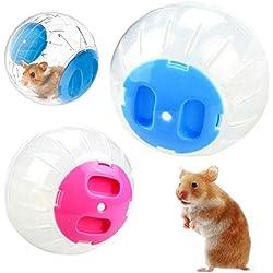 OTENGD 2PACK Hamster Ejercicio Ball Run Estándar Plástico Jogging Grounder Diversión Los Colores de los Juguetes Pueden Variar para el Gerbil Rat Mouse Chipmunk Pequeño Animal de 7 Pulgadas