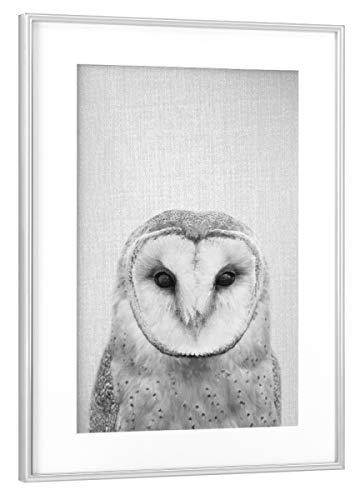 Rahmen Silber 45x30 cm Owl - Black & White von Gal Design - gerahmtes Poster ()