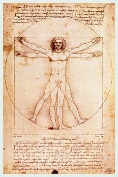 Bild mit Rahmen Leonardo da Vinci - Proportionszeichnung nach Vitruv - Digitaldruck - Alimunium...
