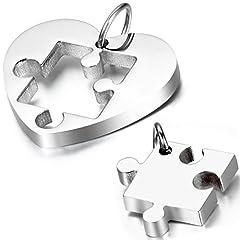 Idea Regalo - OIDEA Collana per Coppia Lovers Collana in Acciaio Inox con Pendente Puzzle Cuore Regalo per Amante Argento(1 Coppia)