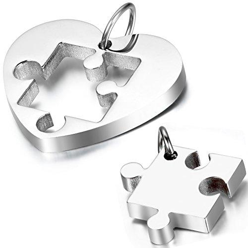 oidea 1par (2pcs) collares de la amistad con colgante, fácil Corazón Puzzle Acero Inoxidable Pareja de colgante con 45cm y 55cm Cadena Collar, plata