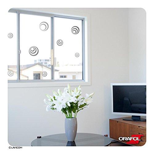 LAVICOM Vogelschutz Vogelschlagschutz 10 Retro-Kreise Fensterschutz - Glasdekorfolie von ORACAL®