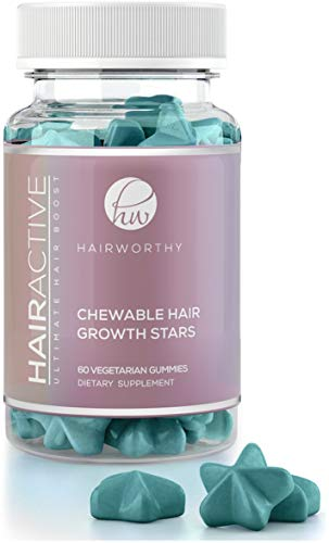 Hairworthy - Acción rápida crecimiento del cabello masticables Vitaminas. Suplemento Natural para el pelo largo con aceite de coco, Biotina y Ácido Fólico.