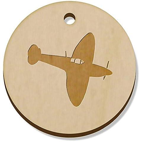 11 x 34mm 'Avion Spitfire' pendentif en bois (PN00022602)