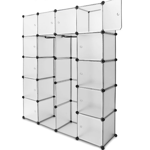 Plastic Wardrobe Storage Box Cube Interlocking DIY Clothes Hanging Rail Cupboard Cabinet Organizer Unit