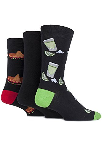 sockshop-mens-3-pair-just-for-fun-mexicain-sombrero-et-tequila-nouveaut-chaussettes-en-coton-6-11-ho