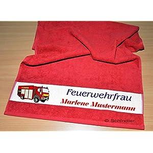 """bedruckte Frottiere Handtücher oder Dusch/Badetücher – Motiv """"Feuerwehrfrau"""" mit Ihrem Wunschnamen in 13 Farben zur Auswahl und 2 Größen"""