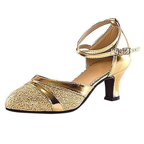 Damen High Heel Erwachsene Latin Dance Schuhe Baotou School Mit Weichen Square Open Stiletto Pumps Schluepfen Party Hochzeit Frauen Ballsaal FriendGG (40 EU, Gold)