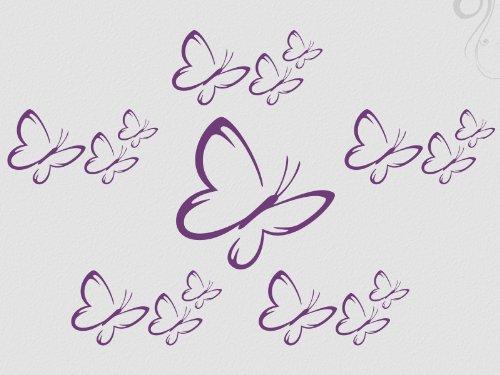 Wandtattoo Teenager-mädchen (Wandtattoo Schmetterlinge 16 Wandsticker Motiv 3-flieder_42)